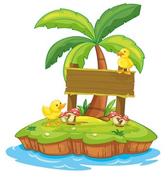 Wooden sign with two ducks on island vector