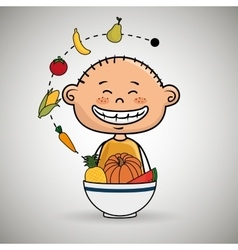 Boy plate fruit vegetables vector
