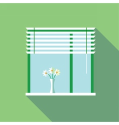 Digital flowers in vase on a window vector