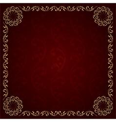 Gold frame with vintage floral elements vector image