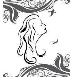 Girl profile on sea background vector