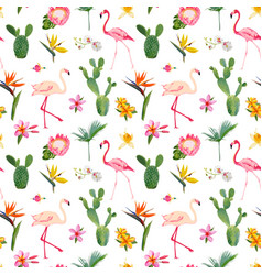 tropical seamless flamingo summer pattern vector image