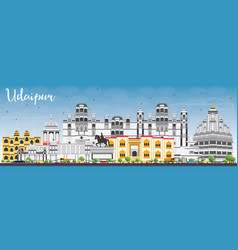 Udaipur skyline with color buildings and blue sky vector