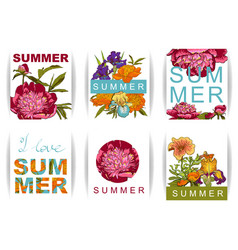 Floral background with peonies i love summer vector