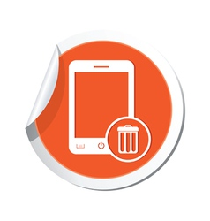 phone trashcan icon orange sticker vector image