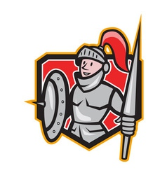 Knight shield lance crest cartoon vector
