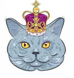 Funny british cat in gold crown vector