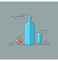 Vodka glass bottle flat design background vector