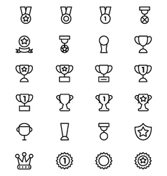 Award and medal line icons 2 vector