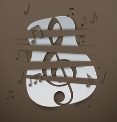 Abstract music background with cut paper guitar vector