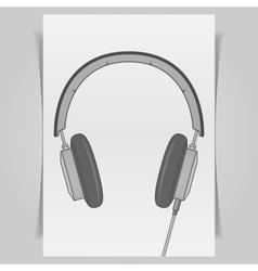 Graphic Headphones Design on white paper Sheet vector image