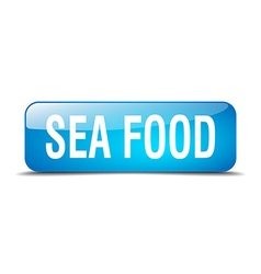 Sea food blue square 3d realistic isolated web vector