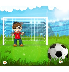 Goalkeeper is waiting for hitting the ball vector
