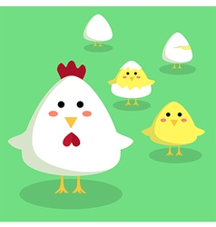 Chicken chick and egg in green background vector