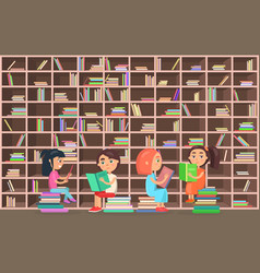 children in library read books beside bookcase vector image
