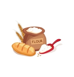 Cloth sack of flour scooper and fresh bread set vector