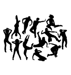 Cool hip hop expression silhouettes vector