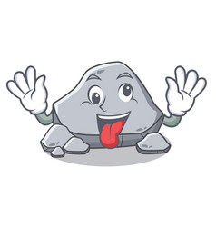 Crazy stone character cartoon style vector
