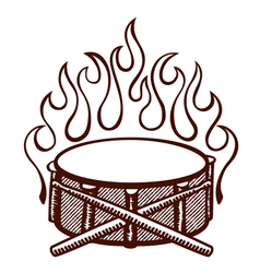Flaming snare drums with sticks logo vector image