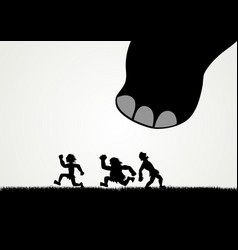 Funny cartoon of men fleeing panic from a giant vector