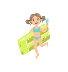 Girl Walking Holding Air Bed And Ice-cream On A vector image