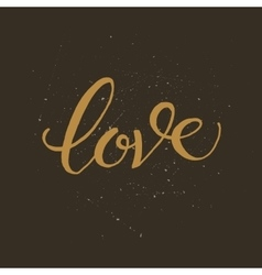 Golden hand lettering of the word love vector
