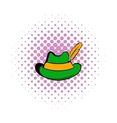 Green hat with a feather icon comics style vector