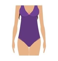 Half body purple set bikini one piece vector