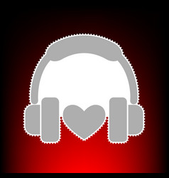 headphones with heart postage stamp or old photo vector image