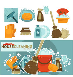 Housework tools icons of home washing vector