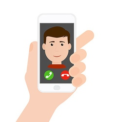 Incoming call from boyman on phone in hand flat vector