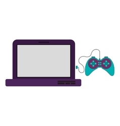 Isolated gamepad and laptop design vector