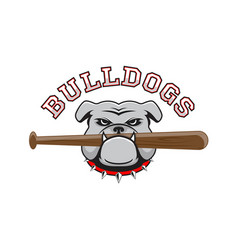 Logo bulldog with a baseball bat in the teeth vector