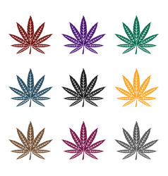 marijuana leaf icon in black style isolated on vector image