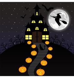 night landscape on Halloween vector image vector image
