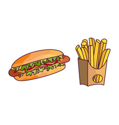 Potato fry hot dog cartoon set isolated vector