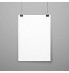 Realistic blank white paper poster hanging on wall vector