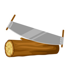 Saw and wood log for forestry and vector