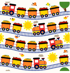 seamless pattern train with fruits vector image vector image