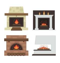 Set of home fireplaces with fire vector