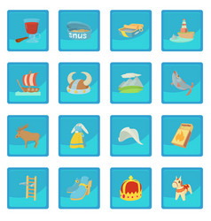 Sweden travel symbols icon blue app vector