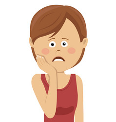 teeth problem woman feeling tooth pain vector image vector image