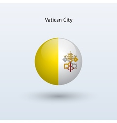 Vatican city round flag vector
