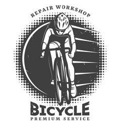 vintage bike repair workshop logotype template vector image