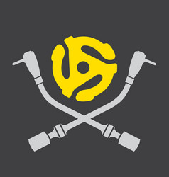 vinyl record dj logo vector image