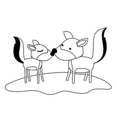 Wolves couple over grass in black dotted contour vector