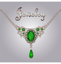 Pendant necklace with precious stones vector