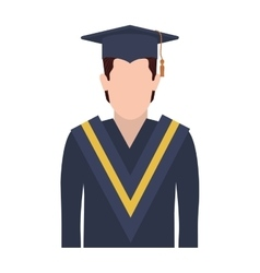 Half body man with graduation outfit vector