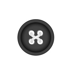 Sewing button in black design with sewing thread vector
