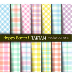 easter colors tartan and gingham plaid patterns vector image
